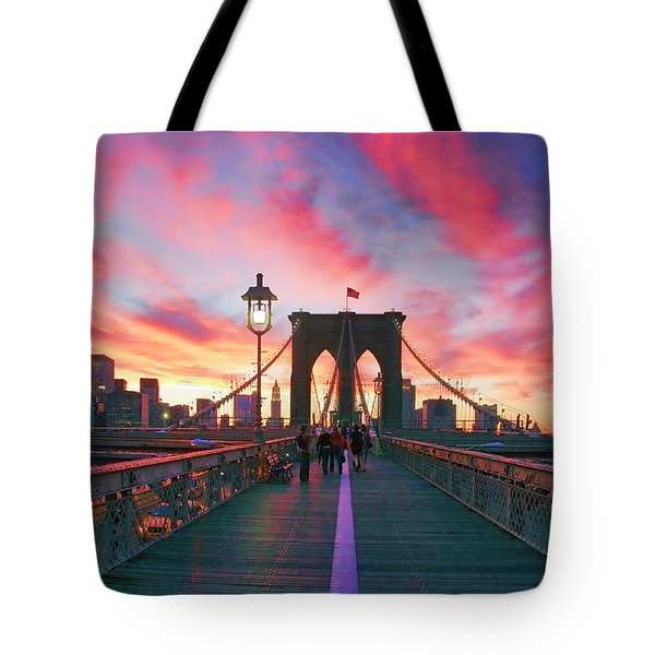 Brooklyn Sunset Tote Bag by Rick Berk