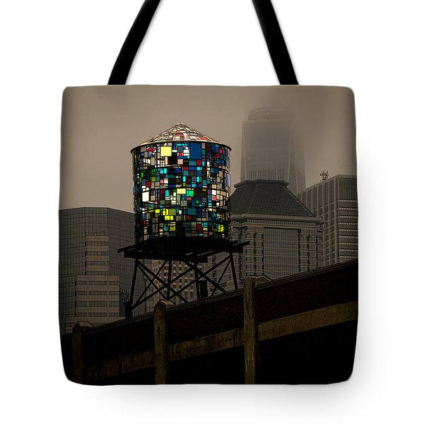 Tote Bag featuring the photograph Brooklyn Water Tower by Chris Lord