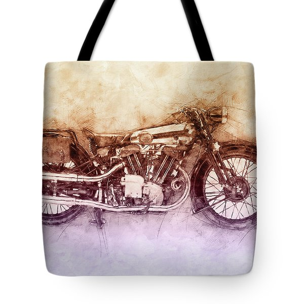 Brough Superior Ss100 - 1924 - Motorcycle Poster 2 - Automotive Art Tote Bag
