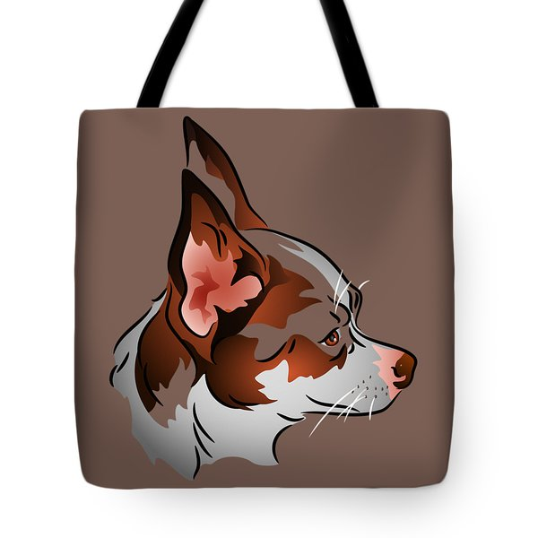 Tote Bag featuring the digital art Brown And White Chihuahua In Profile by MM Anderson