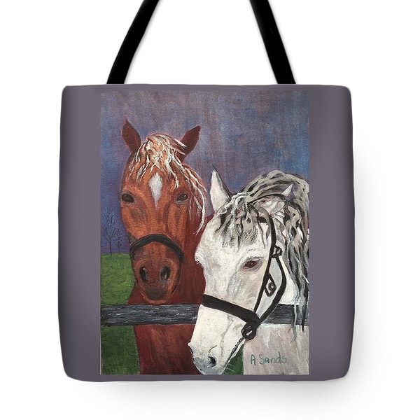 Brown And White Horses Tote Bag