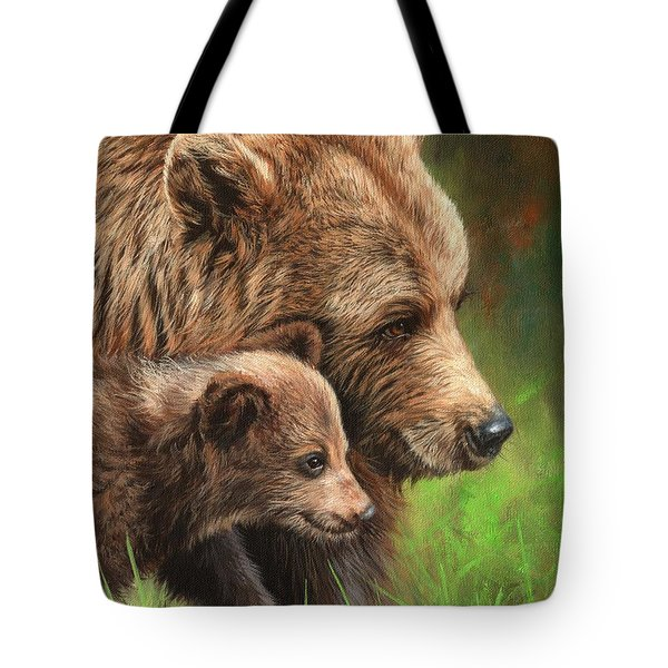 Brown Bear And Cub Tote Bag