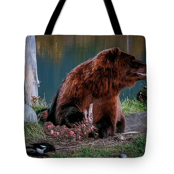 Brown Bear And Magpie Tote Bag