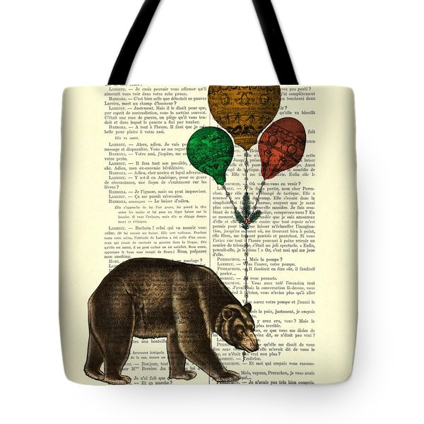 Brown Bear With Balloons Tote Bag