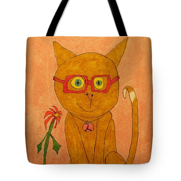Brown Cat With Glasses Tote Bag