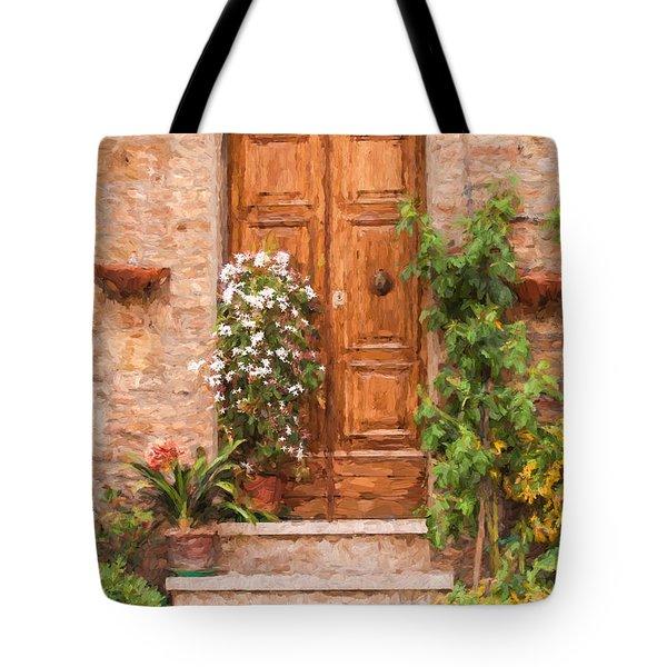 Brown Door Of Tuscany Tote Bag