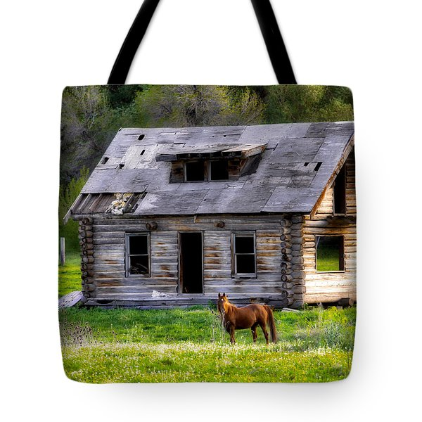 Brown Horse And Old Log Cabin Tote Bag