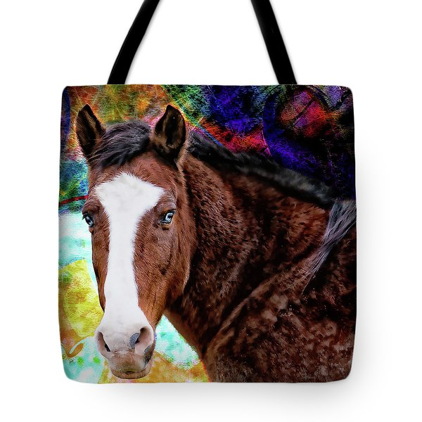 Brown Horse Digital Art Tote Bag