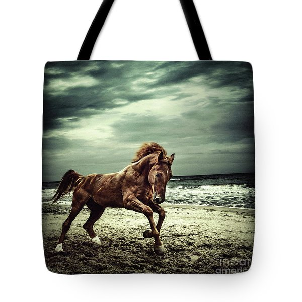 Brown Horse Galloping On The Coastline Tote Bag