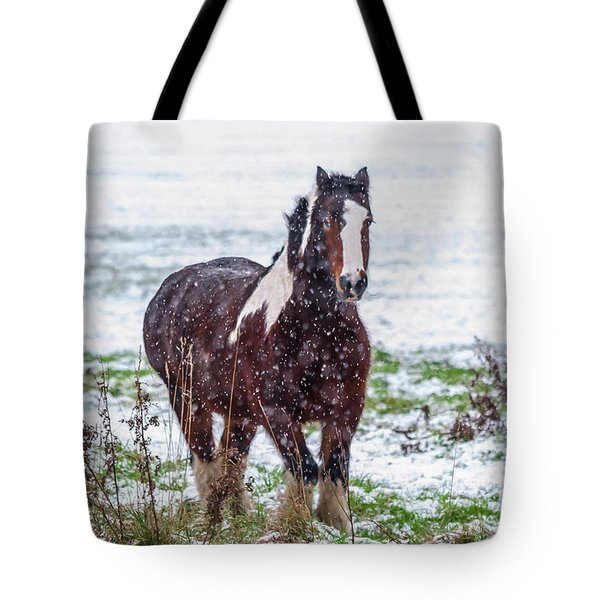 Brown Horse Galloping Through The Snow Tote Bag