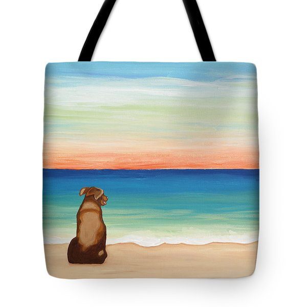 Brown Lab Dog On The Beach Tote Bag