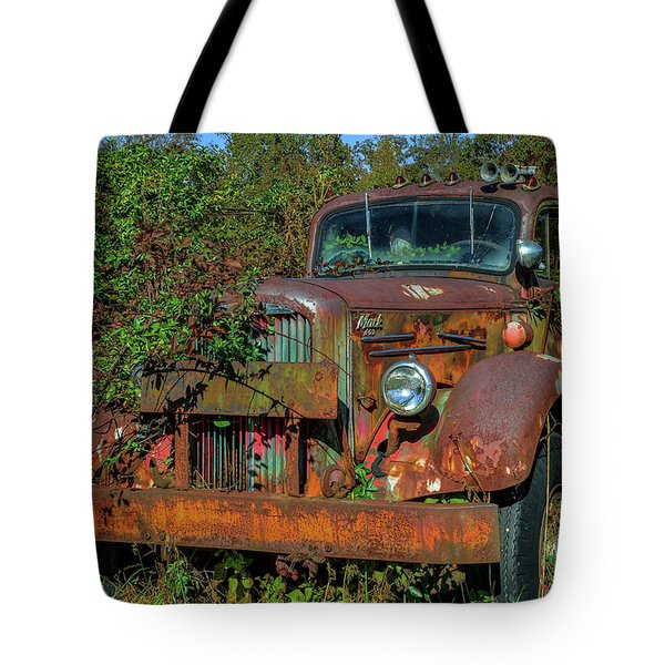 Tote Bag featuring the photograph Brown Mack Truck by Jerry Gammon