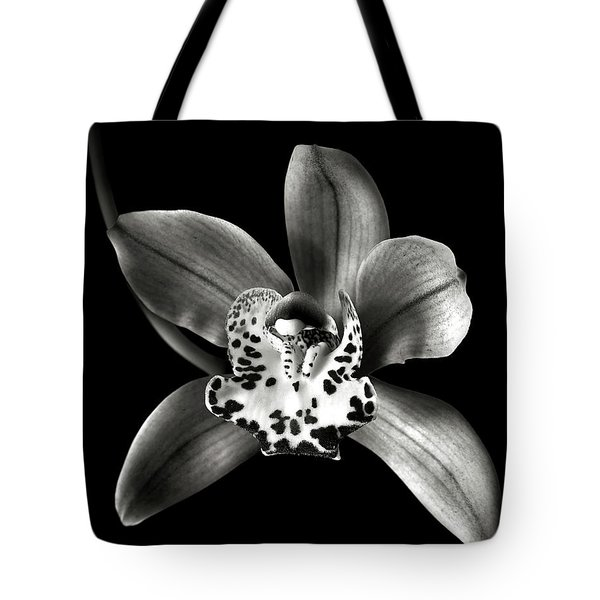 Brown Orchid In Black And White Tote Bag