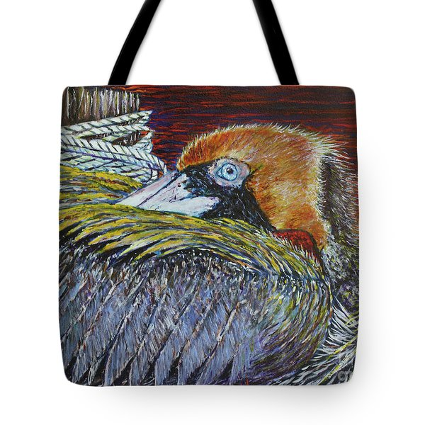 Brown Pelican Tote Bag by David Joyner