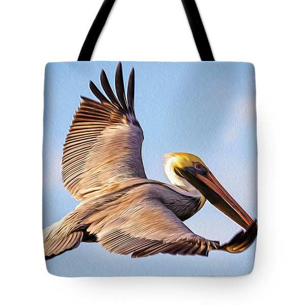 Brown Pelican In Flight - Two Tote Bag