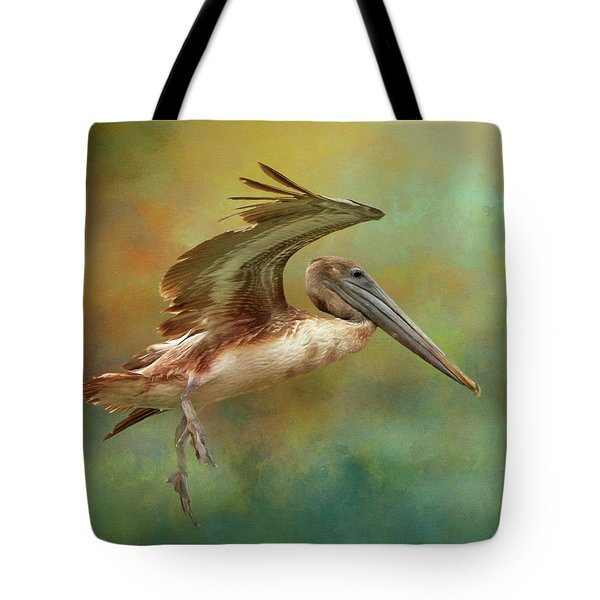 Brown Pelican Landing Tote Bag