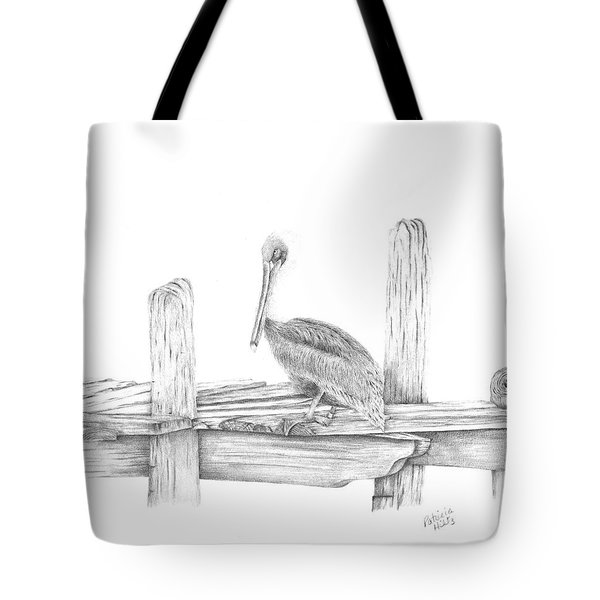 Tote Bag featuring the drawing Brown Pelican by Patricia Hiltz