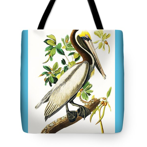 Brown Pelican Tote Bag by Pg Reproductions