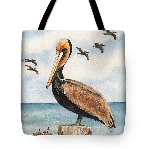 Brown Pelicans Tote Bag