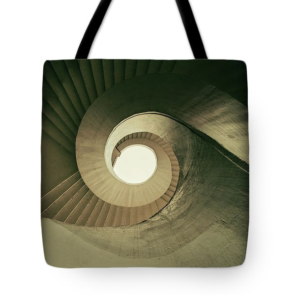 Tote Bag featuring the photograph Brown Spiral Stairs by Jaroslaw Blaminsky