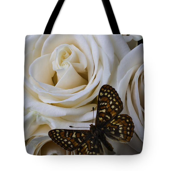 Brown Spotted Butterfly Tote Bag