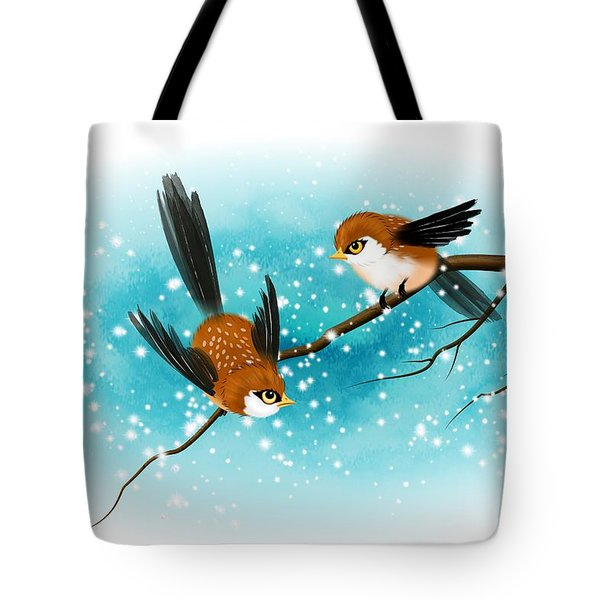 Tote Bag featuring the digital art Brown Swallows In Winter by John Wills