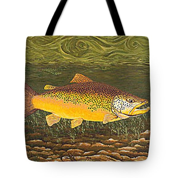 Brown Trout Fish Art Print Touch Down Brown Trophy Size Football Shape Brown Trout Angler Angling Tote Bag by Baslee Troutman