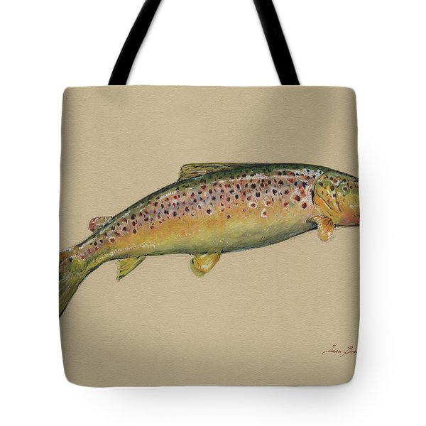 Brown Trout Jumping Tote Bag by Juan Bosco