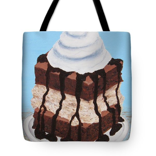 Tote Bag featuring the painting Brownie Ice Cream Sandwich by Nancy Nale