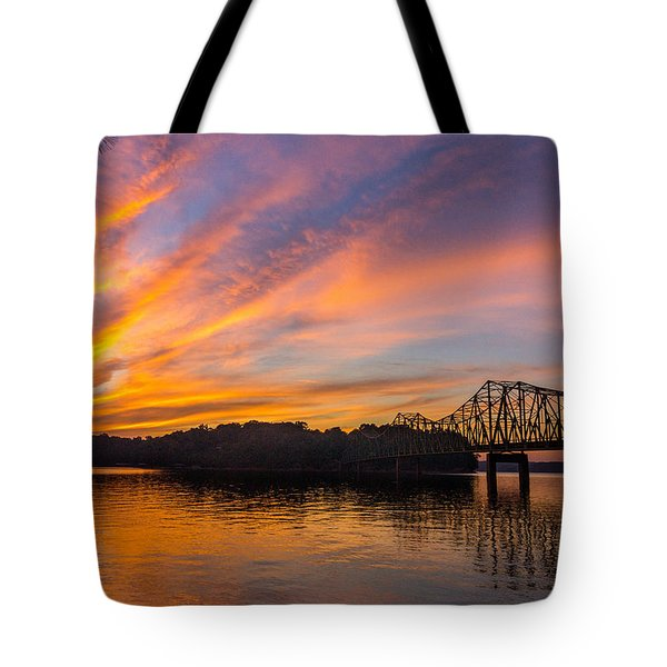 Browns Bridge Sunset Tote Bag by Michael Sussman