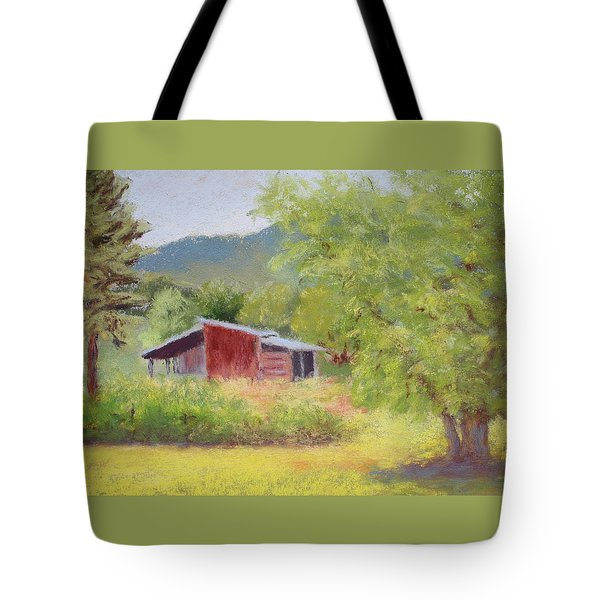 Tote Bag featuring the painting Brown's Shed by Nancy Jolley
