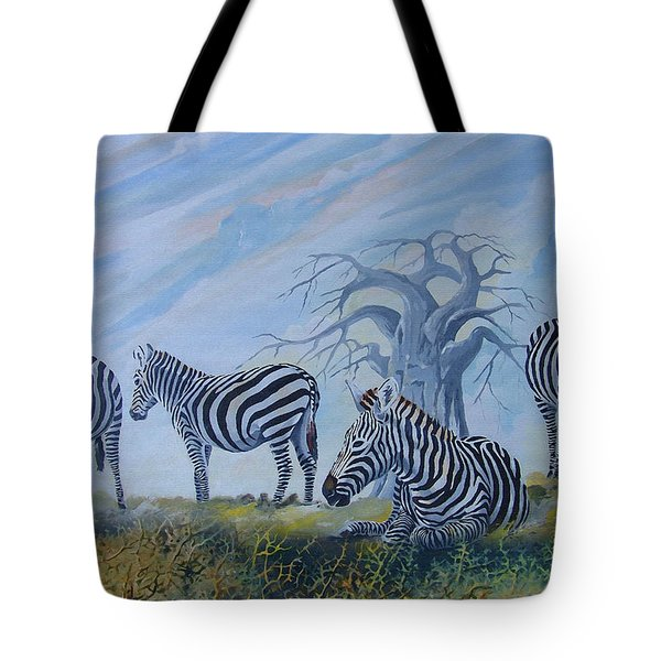 Tote Bag featuring the painting Browsing Zebras by Anthony Mwangi