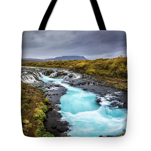 Tote Bag featuring the photograph Bruarfoss In The Gloom by Rikk Flohr