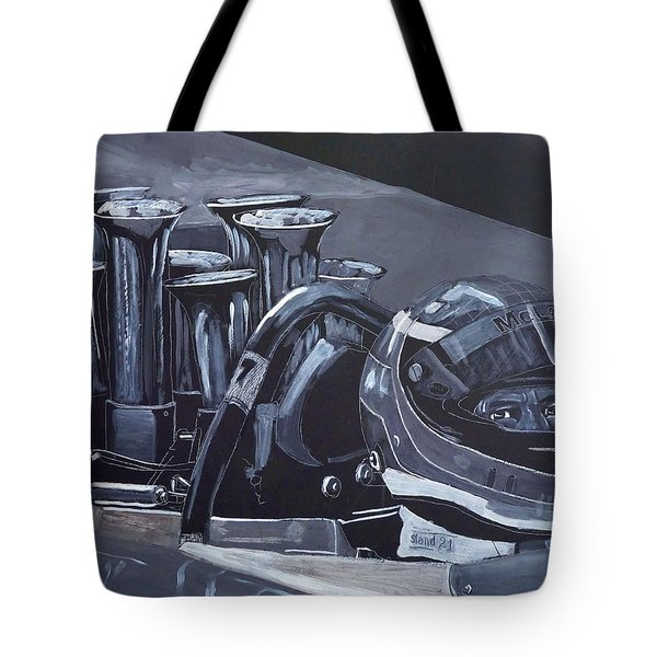 Tote Bag featuring the painting Bruce Mclaren Canam by Richard Le Page