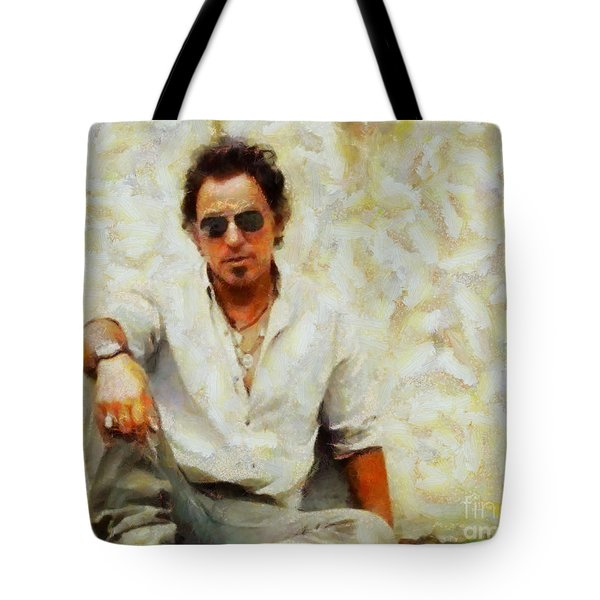 Tote Bag featuring the painting Bruce Springsteen by Elizabeth Coats