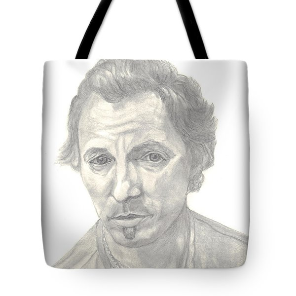 Bruce Springsteen Portrait Tote Bag by Carol Wisniewski