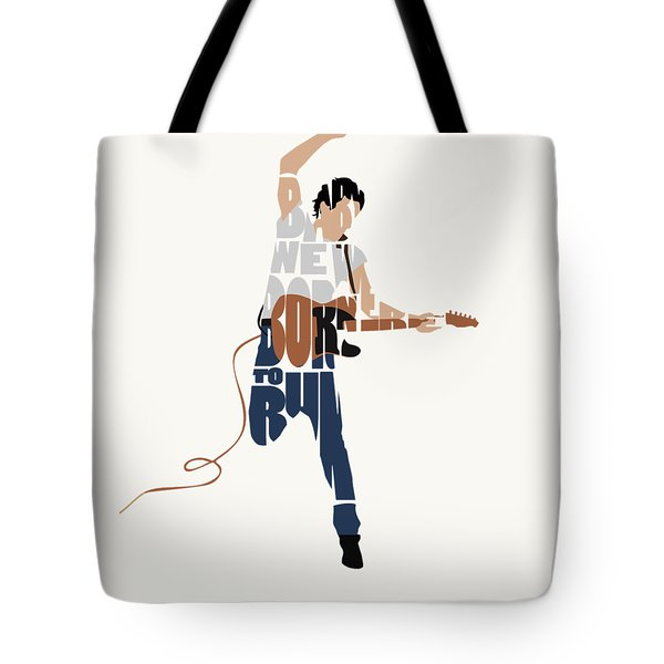 Tote Bag featuring the digital art Bruce Springsteen Typography Art by Inspirowl Design