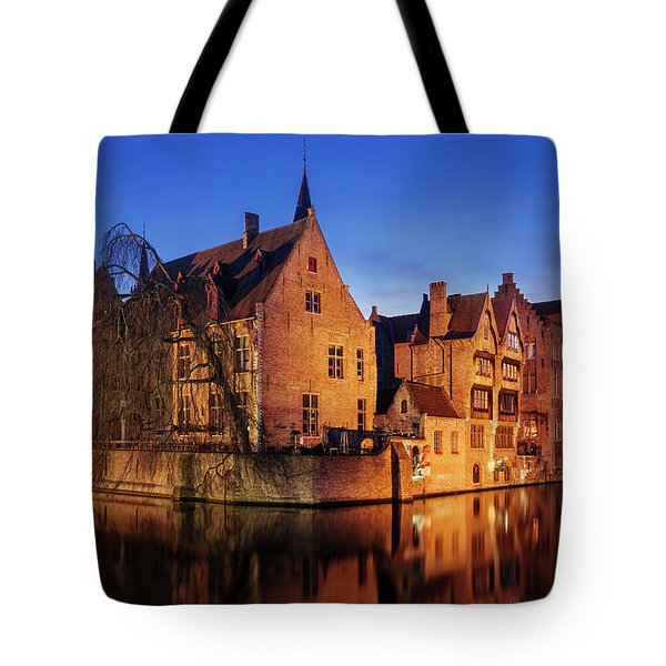 Bruges Architecture At Blue Hour Tote Bag