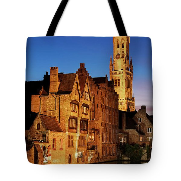 Bruges Belfry At Night Tote Bag