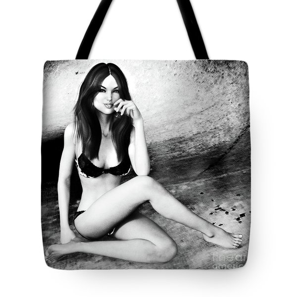Brunette In Lingerie Black And White Tote Bag
