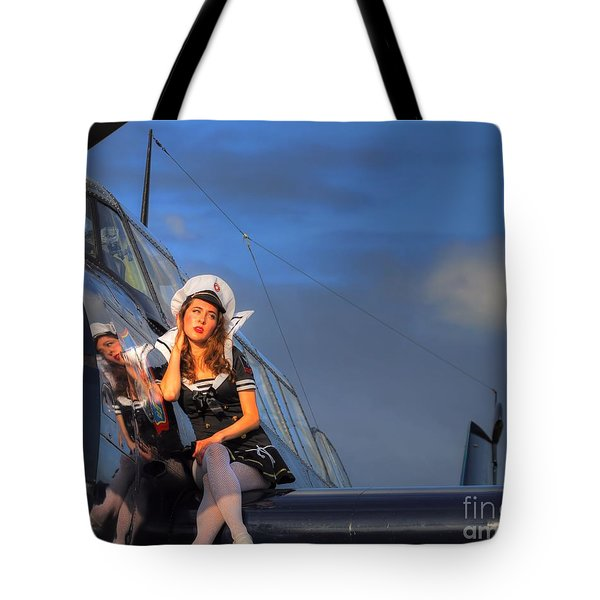 Brunette Navy Girl Tote Bag