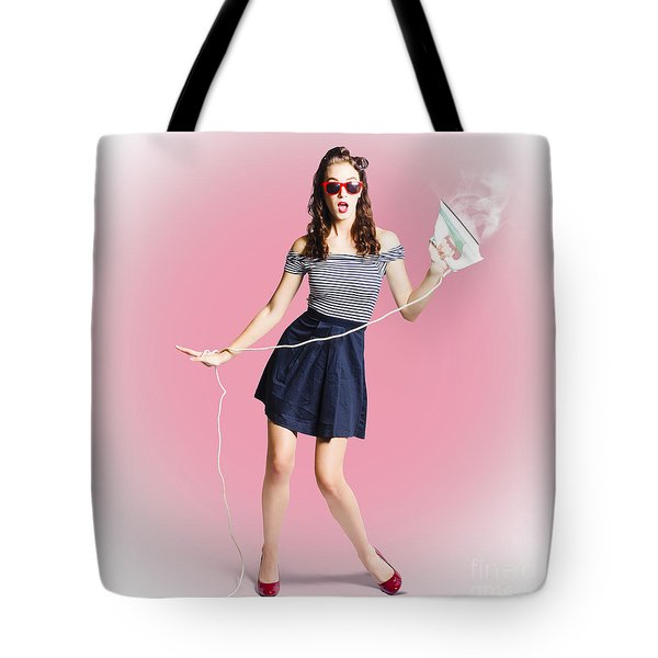 Brunette Pin-up Housewife With Iron Tote Bag