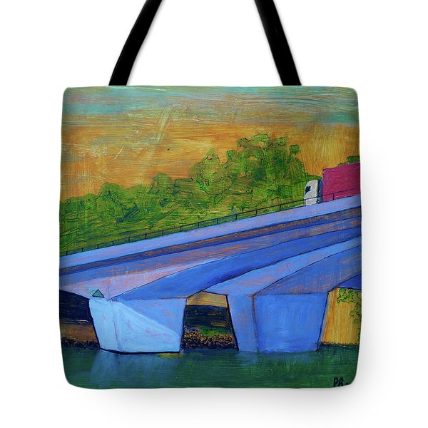 Tote Bag featuring the painting Brunswick River Bridge by Paul McKey