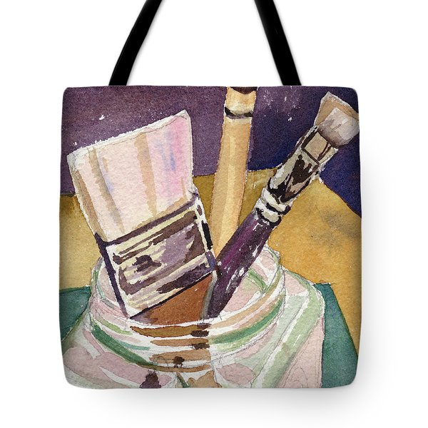 Tote Bag featuring the painting Brushes by Kris Parins