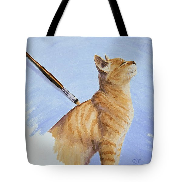 Brushing The Cat Tote Bag by Crista Forest