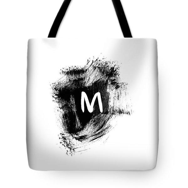 Brushstroe M -monogram Art By Linda Woods Tote Bag