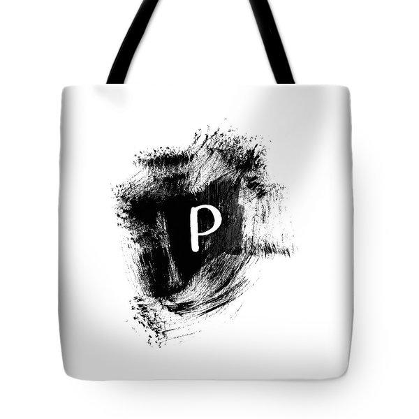 Brushstroke P -monogram Art By Linda Woods Tote Bag