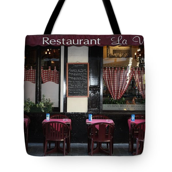 Brussels - Restaurant La Villette Tote Bag by Carol Groenen