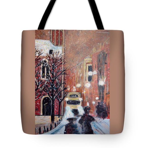 Brussels At Night Tote Bag by Carolyn Donnell