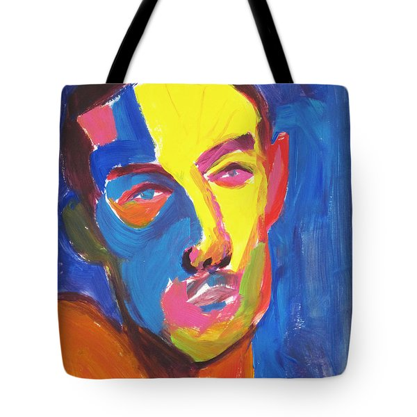 Tote Bag featuring the painting Bryan Portrait by Shungaboy X